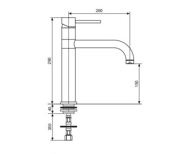 Смеситель для куxни EMMEVI PIPER мат-хром SC45007