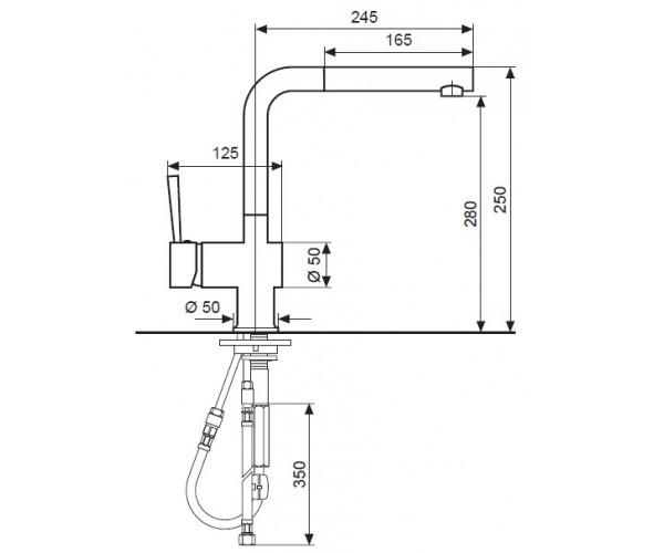 Смеситель для кухни EMMEVI PIPER мат-хром SC45066