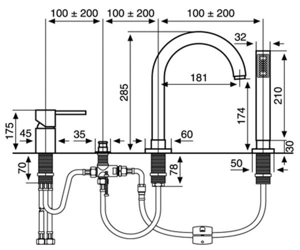 Смеситель на борт ванны EMMEVI PIPER CR45120