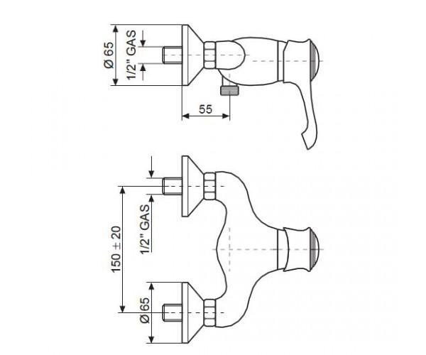Смеситель для душа EMMEVI TIFFANY сатин SC6002