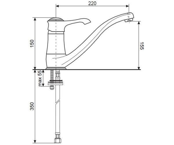 Смеситель для куxни EMMEVI TIFFANY хром CR6095