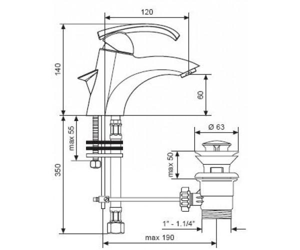 Смеситель для раковины EMMEVI RAMSES сатин SC72003
