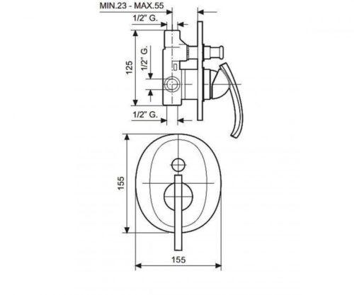 Смеситель для душа EMMEVI RAMSES хром CR72019