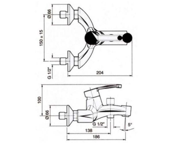 Смеситель для ванны EMMEVI PLANET сатин CS81001
