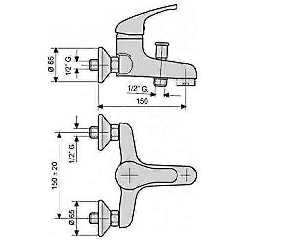 Смеситель для ванны EMMEVI WINNY CR95001