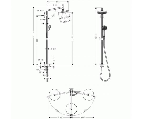 Душевая колонна HANSGROHE Showerpipe RENO 27224000
