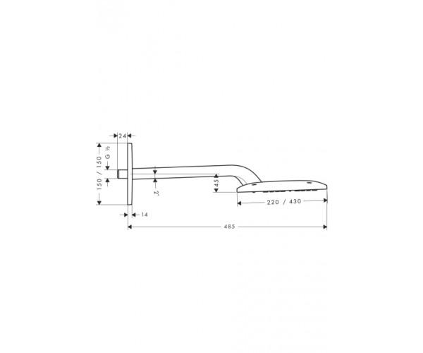 Верхний душ E 420 AIR 1jet, держатель 385 мм, HANSGROHE Raindance 27372000
