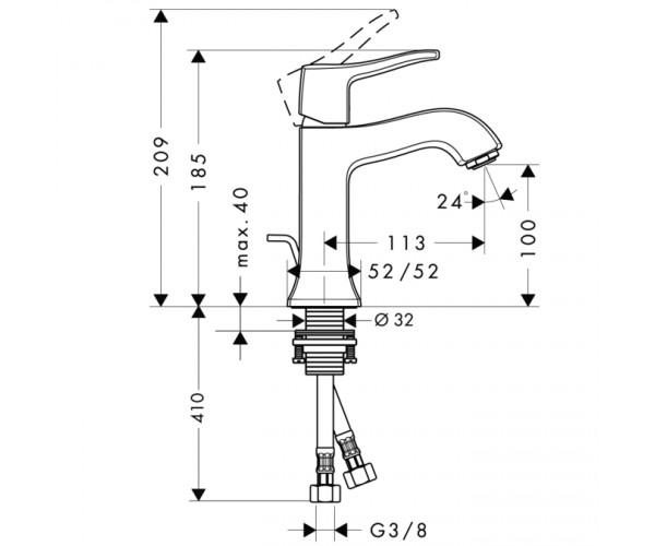 Смеситель для раковины HANSGROHE METRIS CLASSIC 31075000