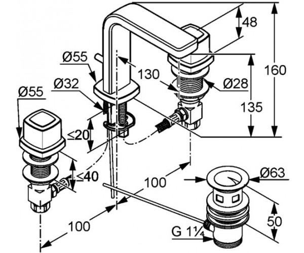 Смеситель для раковины на 3 отверстия KLUDI Q-BEO 501430542