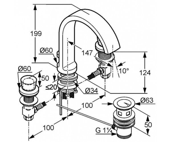 Смеситель для раковины KLUDI JOOP 551430505