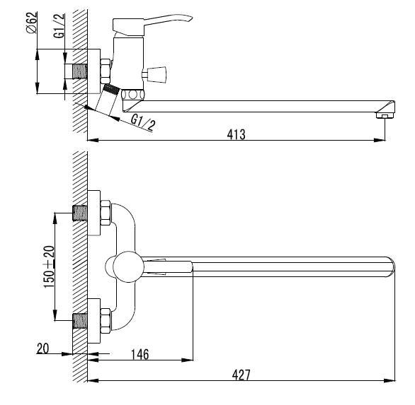 NOVAKO смеситель для ванной с длинным изливом, хром, IMPRESE 35200