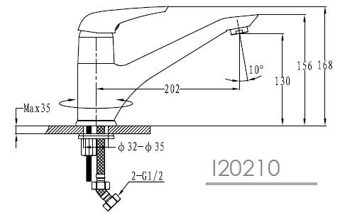SOLNICE смеситель для кухни, хром, IMPRESE I20210