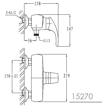 LIBEREC смеситель для душа, хром, 40 мм 15270