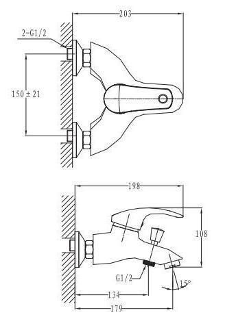 BRNO SATINOX смеситель для ванны,сатин, 40 мм 1015S