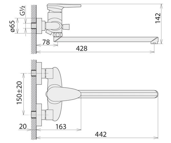 Смеситель для ванны WELLE LOUIS HT53191D