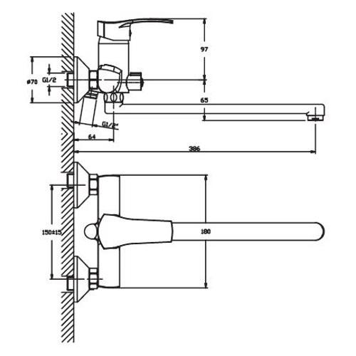 Смеситель для ванны HAIBA ONIX 006 EURO HB0320