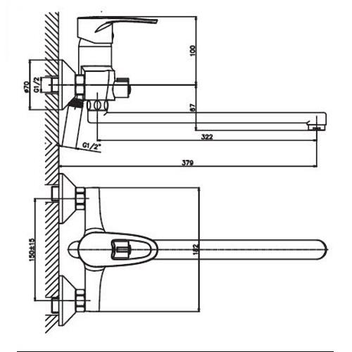 Смеситель для ванны HAIBA XIDE 006 EURO HB0401
