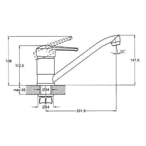 Смеситель для кухни ZEGOR (TROYA) PED-A180 (Z43-PED-A180)