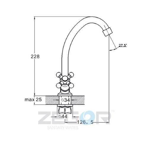 Смеситель для кухни ZEGOR (TROYA) T41-TZA-A652 (шланги в комплекте не идут)