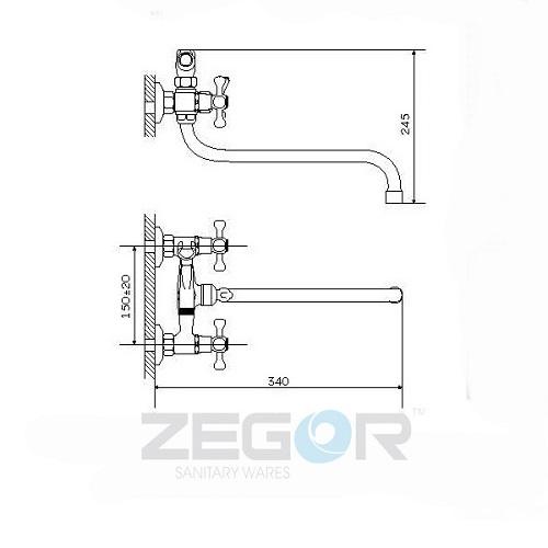 Смеситель для ванны ZEGOR (TROYA) DFR7-А722 (T61-DFR-A722)