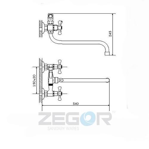Смеситель для ванны ZEGOR (TROYA) DMT7-A722 (T61-DMT-A722)