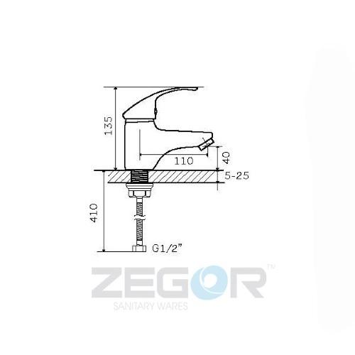 Смеситель для умывальника ZEGOR (TROYA) Z15-BWZ-A182