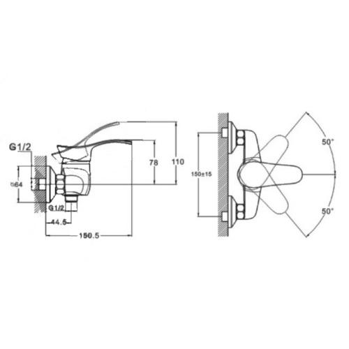 Смеситель для душа ZEGOR (TROYA) NHK5-A048 (Z61 LOP-B043)