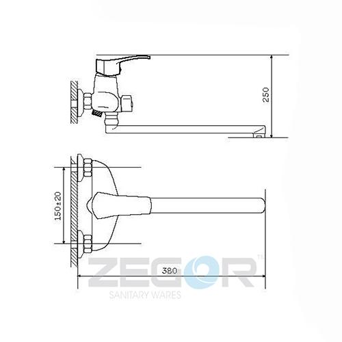 Смеситель для ванны ZEGOR (TROYA) NGB-А185 (Z63-NGB-A185)