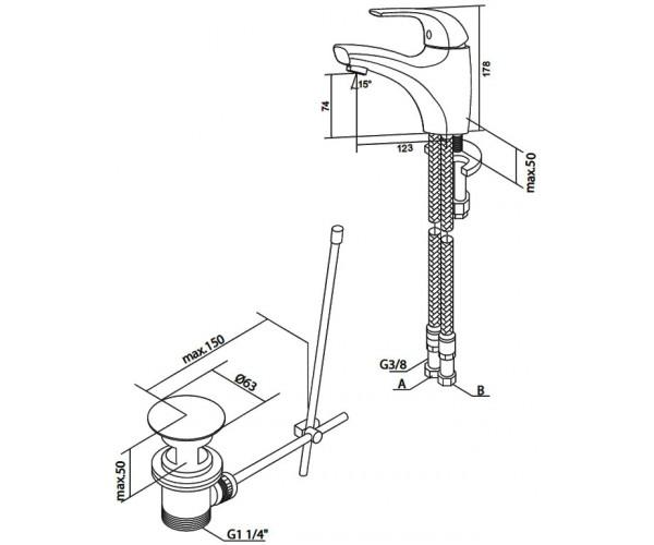 Смеситель для умывальника с донным клапаном AM.PM Sense F7582100