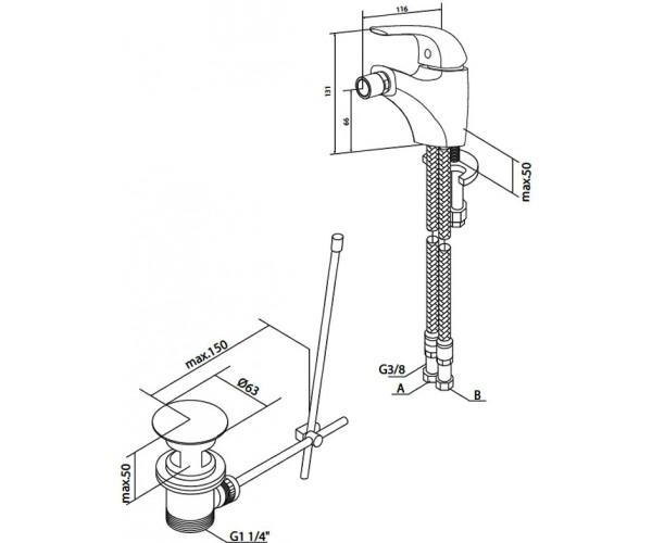 Смеситель для биде с донным клапаном AM.PM Sense F7583100