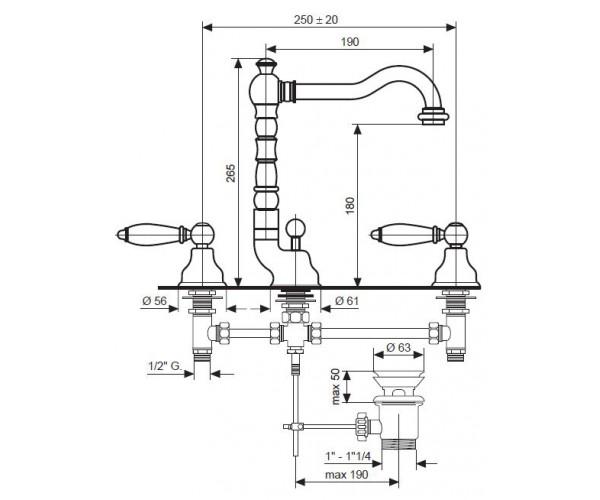 Смеситель для умывальника EMMEVI DECO OR121643