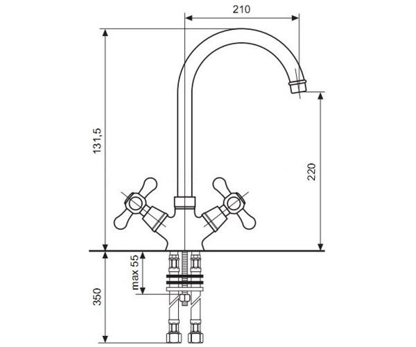 Смеситель для кухни EMMEVI DECO CLASSIC BR12517