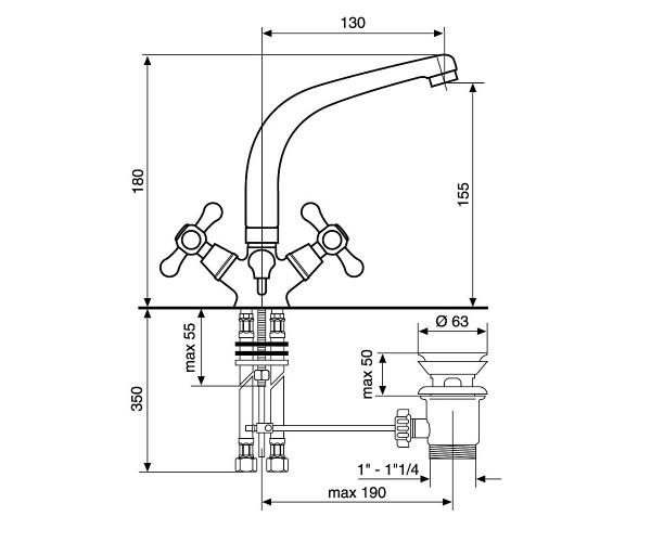 Смеситель для раковины EMMEVI DECO BR12913