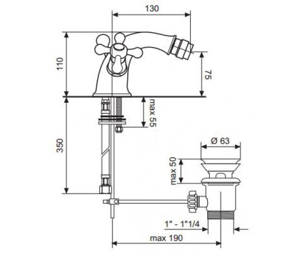 Смеситель для биде EMMEVI DECO CLASSIC BR12014
