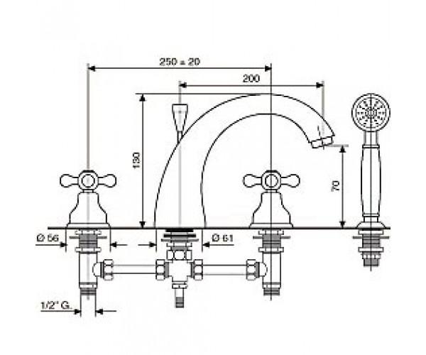 Смеситель для ванны EMMEVI DECO CLASSIC BR12120