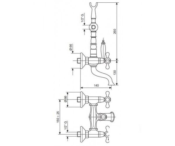 Смеситель для ванны EMMEVI DECO CERAMICA OR121611