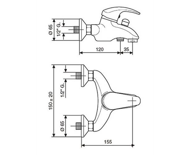 Смеситель для ванны EMMEVI LUXOR CR7001RB