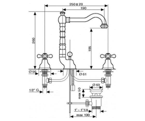 Смеситель для раковины EMMEVI DECO OLD OR12643