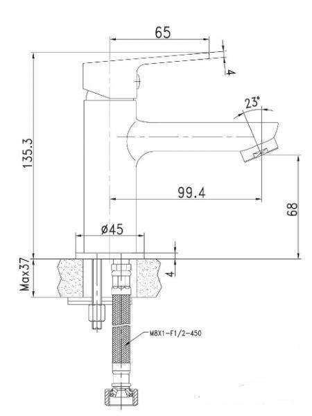 LASKA cмеситель для раковины , хром, 25 мм 05040 (25) IMPRESE