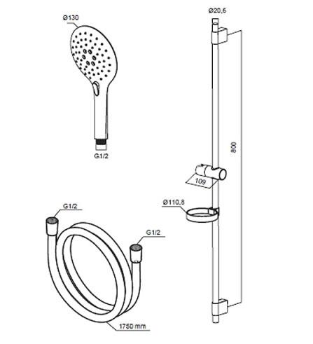 Душевой комплект AM.PM Serenity F0140000