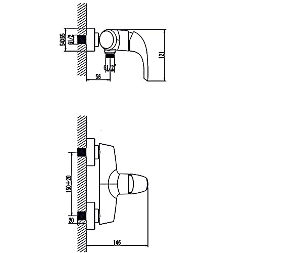 Смеситель для душа RUBINETA FORTE 540014