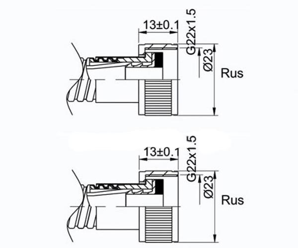 Шланг душевой RUBINETA Rus/Rus SS 600028