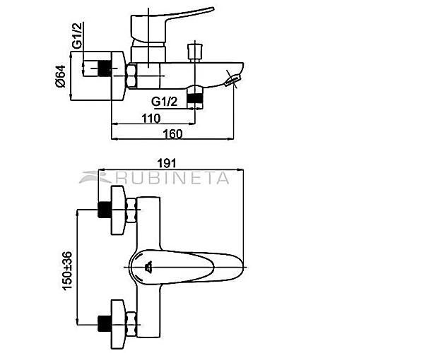 Смеситель для ванны RUBINETA STATIC A10A08