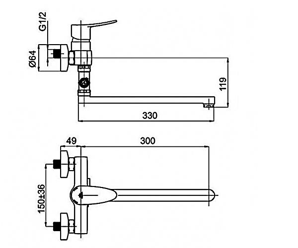 Смеситель для ванны RUBINETA STATIC A2CA08