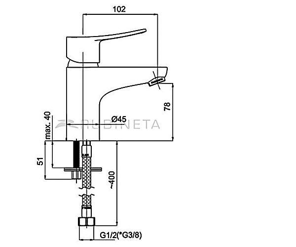 Смеситель для раковины RUBINETA STATIC A80008