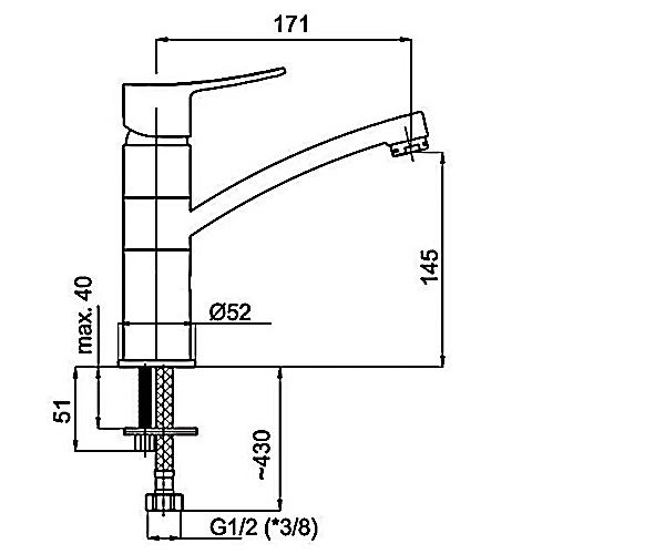 Смеситель для раковины RUBINETA STATIC A90008