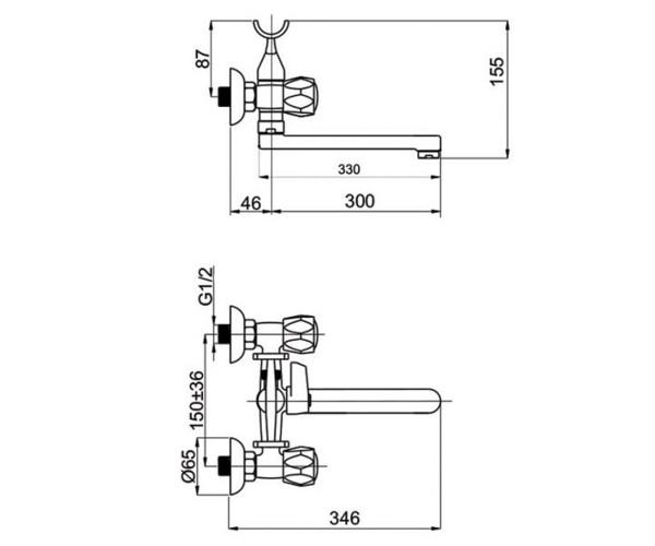Смеситель для ванны RUBINETA GLOBO C1SK02