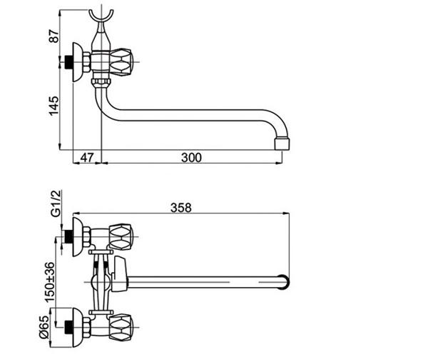 Смеситель для ванны RUBINETA CROSS C1SK06