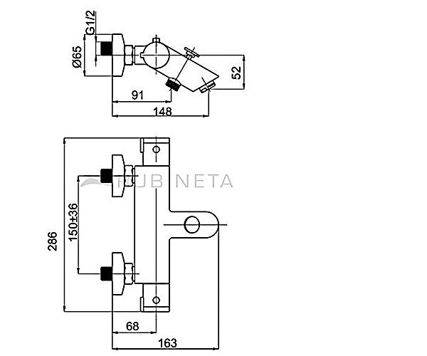 Смеситель для ванны с термостатом RUBINETA THERMO H10008