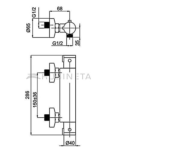 Смеситель для душа с термостатом RUBINETA THERMO H20008